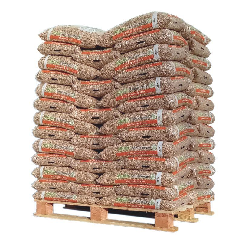 Pellet Moulin Bois Energie - Palette de 65 sacs de 15 kg